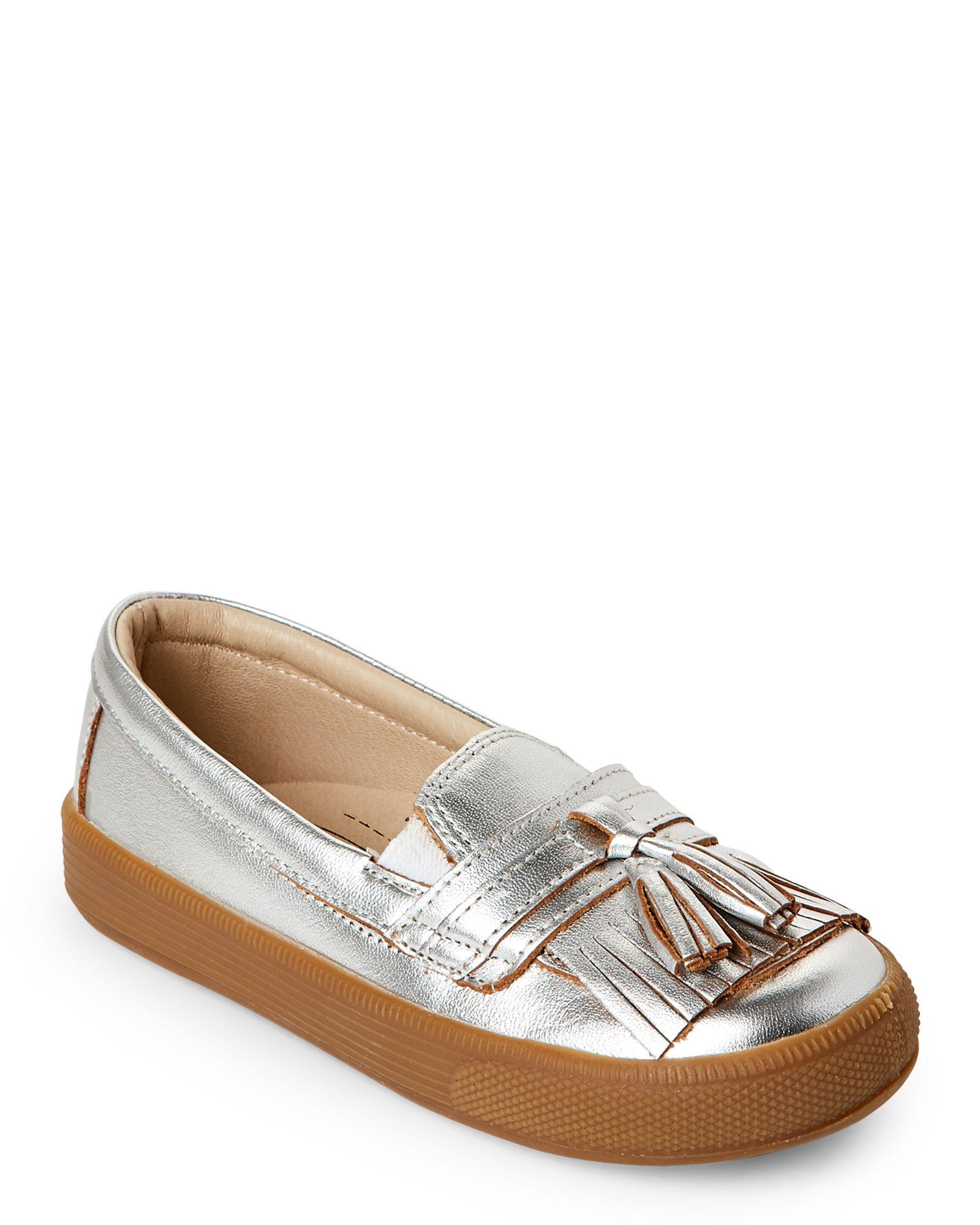 Old Soles (Toddler Girls) Silver Domain Hoff Fringed Slip Ons