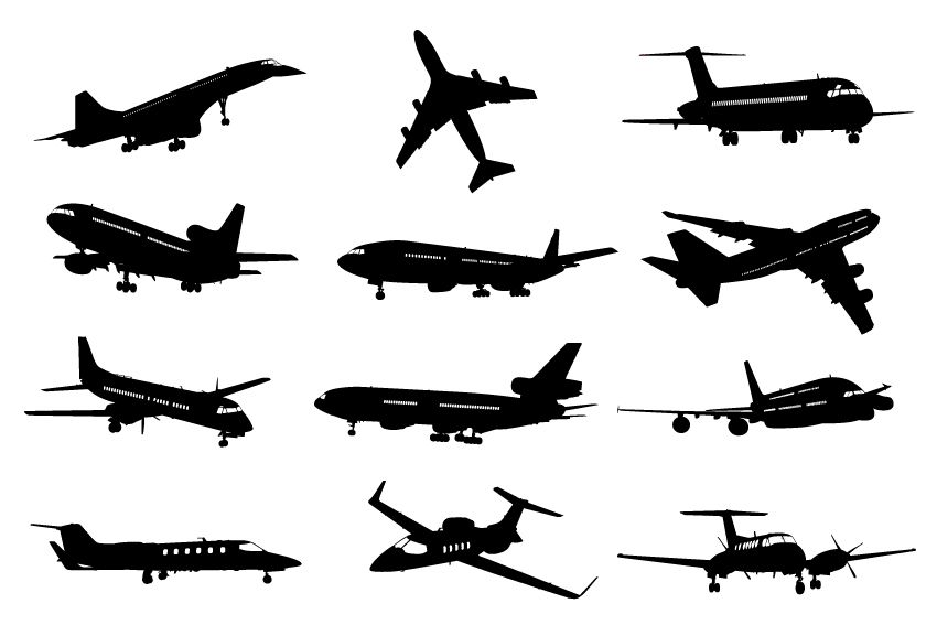 Different Airplane Silhouette Vector Set Airplane Silhouette