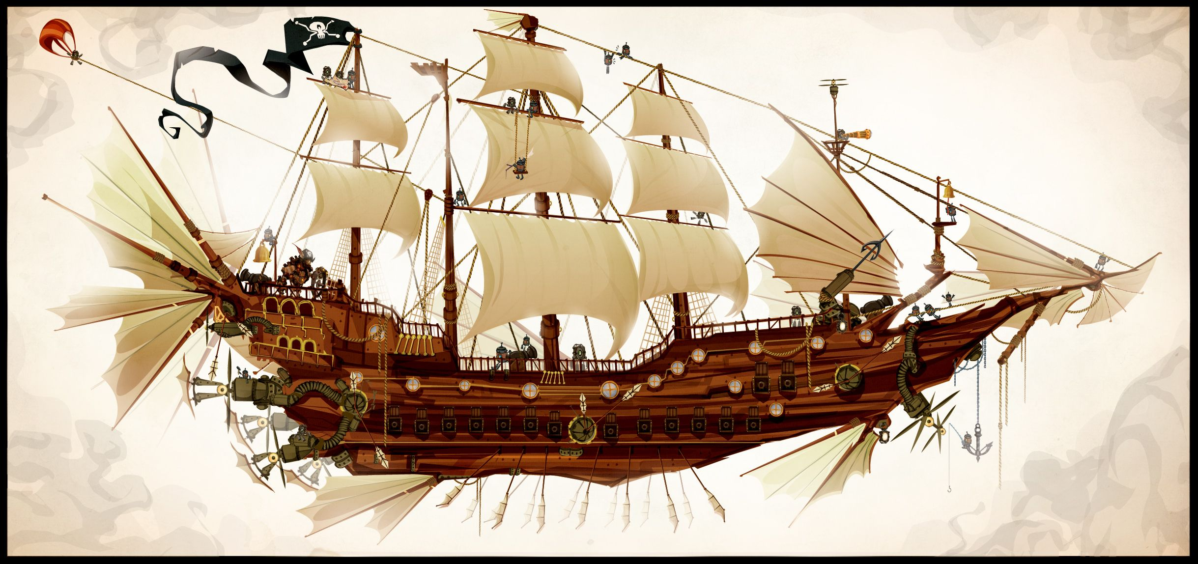 Steampunk Flying Pirate Ship Art