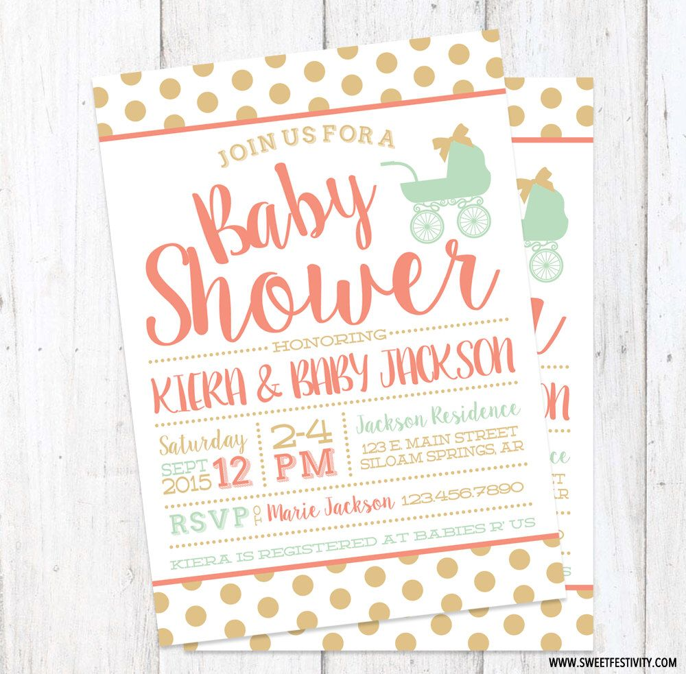 Gold Polka Dots Coral Mint Baby Carriage Girl Baby Shower Printable ...