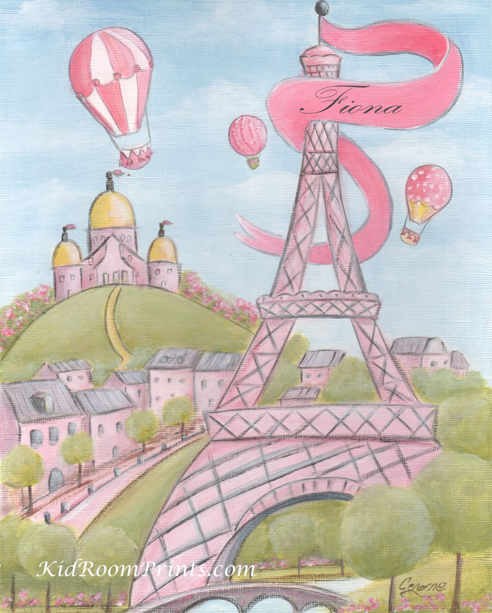 I'm now selling all archival quality prints, copies of my popular water color and acrylic paintings - up to poster size! Shipped around the world. This is my pink Eiffel Tower print, that can be personalized with girl's name!