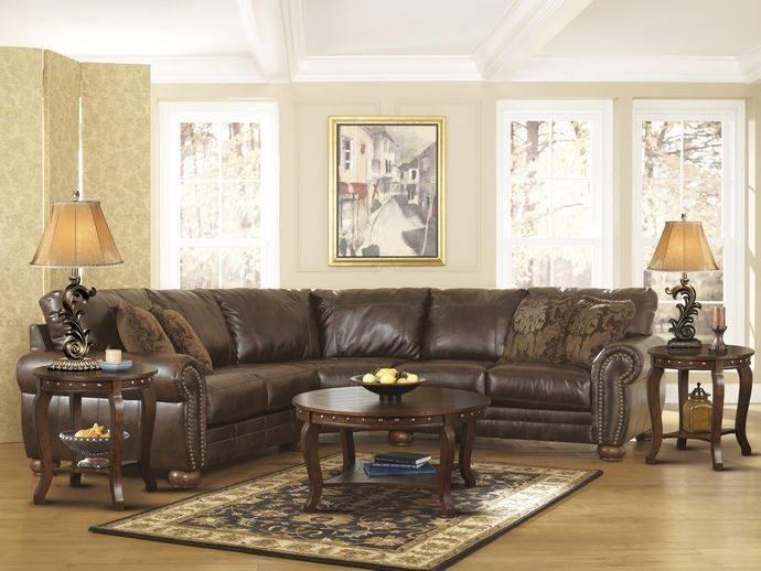 2 pc Signature durablend collection antique bonded leather upholstered sectional sofa with nail head trim : leather sectional with nailhead trim - Sectionals, Sofas & Couches