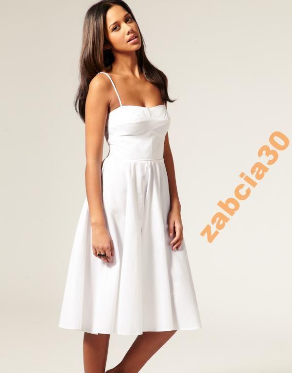 Asos Biala Letnia Rozkloszowana 46 Xxxl Likwidacja 5601636540 Oficjalne Archiwum Allegro Midi Dress Summer White Dress Summer Summer Dresses