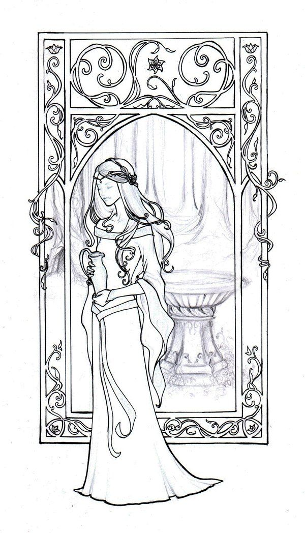 "Mucha style - "" #GaladrielLineart"" Illustration in style of ""Alphonse Mucha"" by ""Achen089"" on @deviantART"