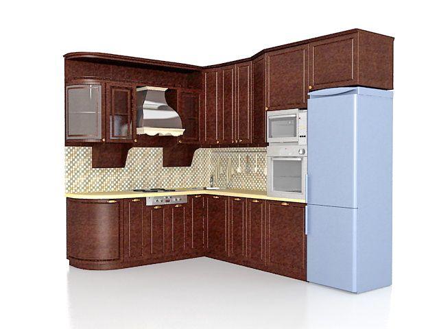 Ushaped Kitchen Design 3D Model  3Ds Max  Pinterest  Kitchen Alluring Kitchen Design 3D Software Free Download Design Inspiration