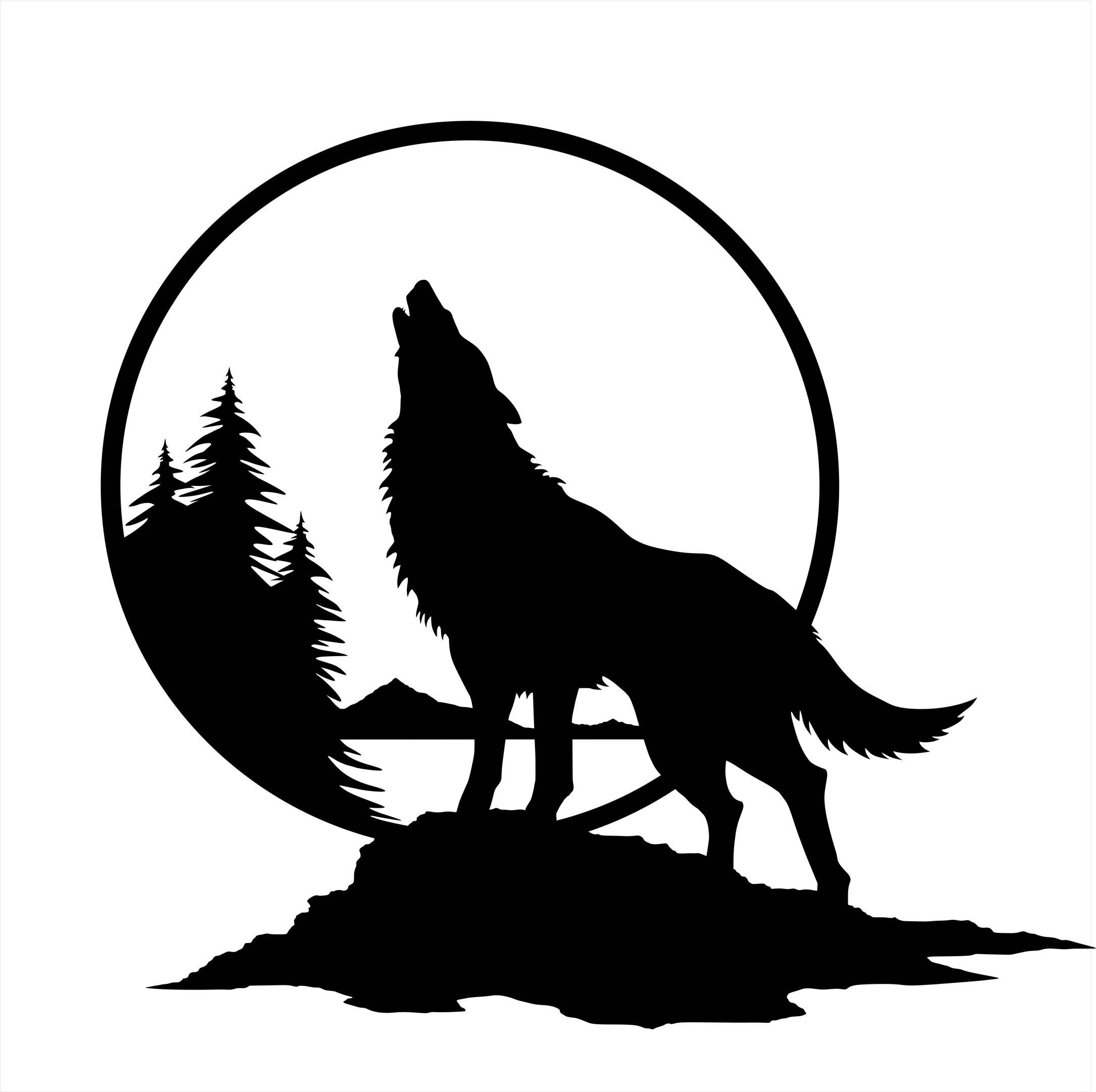 2171x2162 Wolf Wall Decal Wolf Howling Wolf Silhouette Wolf Howling At Moon Wolf Tattoo Design