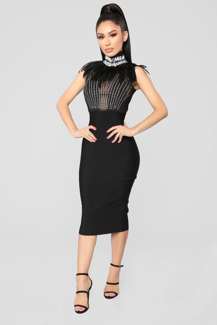 It Could Be Love Rhinestone Dress Black Dresses