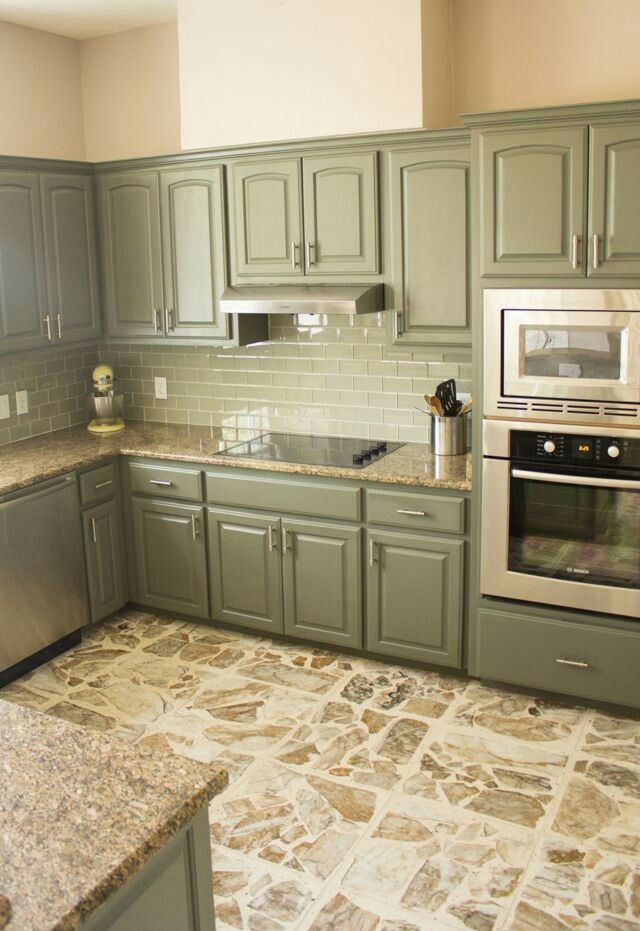 Gorgeous Sage Green Cabinets And Light Brown Granite Green Kitchen Cabinets Kitchen Cabinet Design Kitchen Renovation