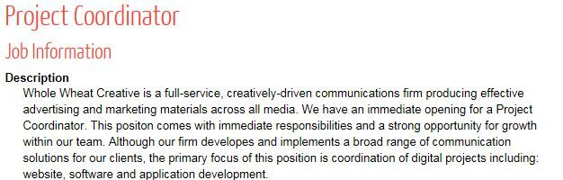 For the full Job Description, visit the AAF website    www - project coordinator job description