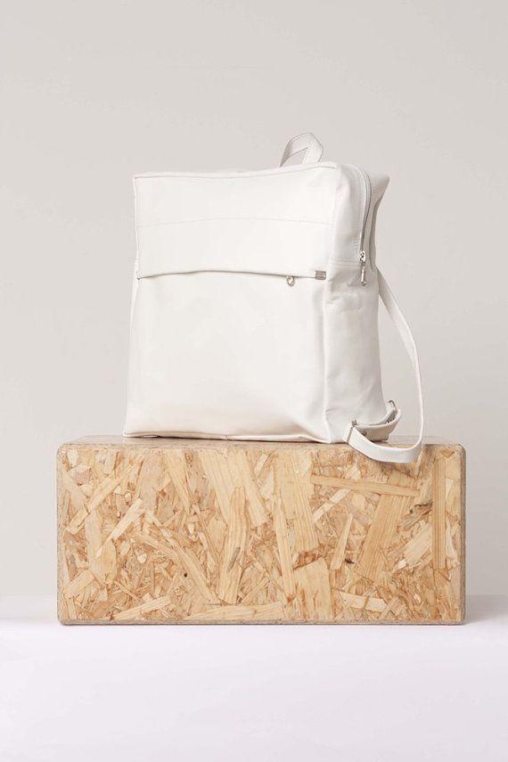 White leather backpack  1de73b5e67fb4
