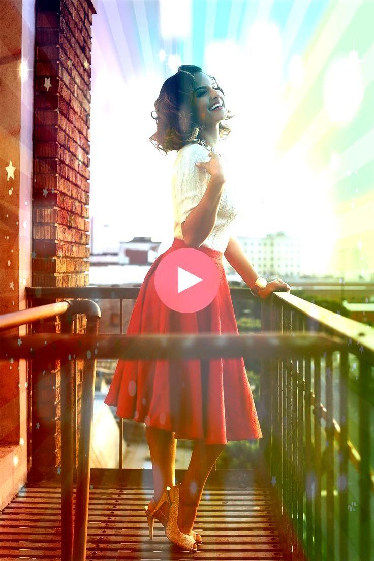 Outfit idea  1940s Outfit idea 1940s Outfit idea Flowy high waisted skirt Glamour Christy Turlington by Arthur Elgort Red full skirt Idda van Munster Mädchentraum Cl...