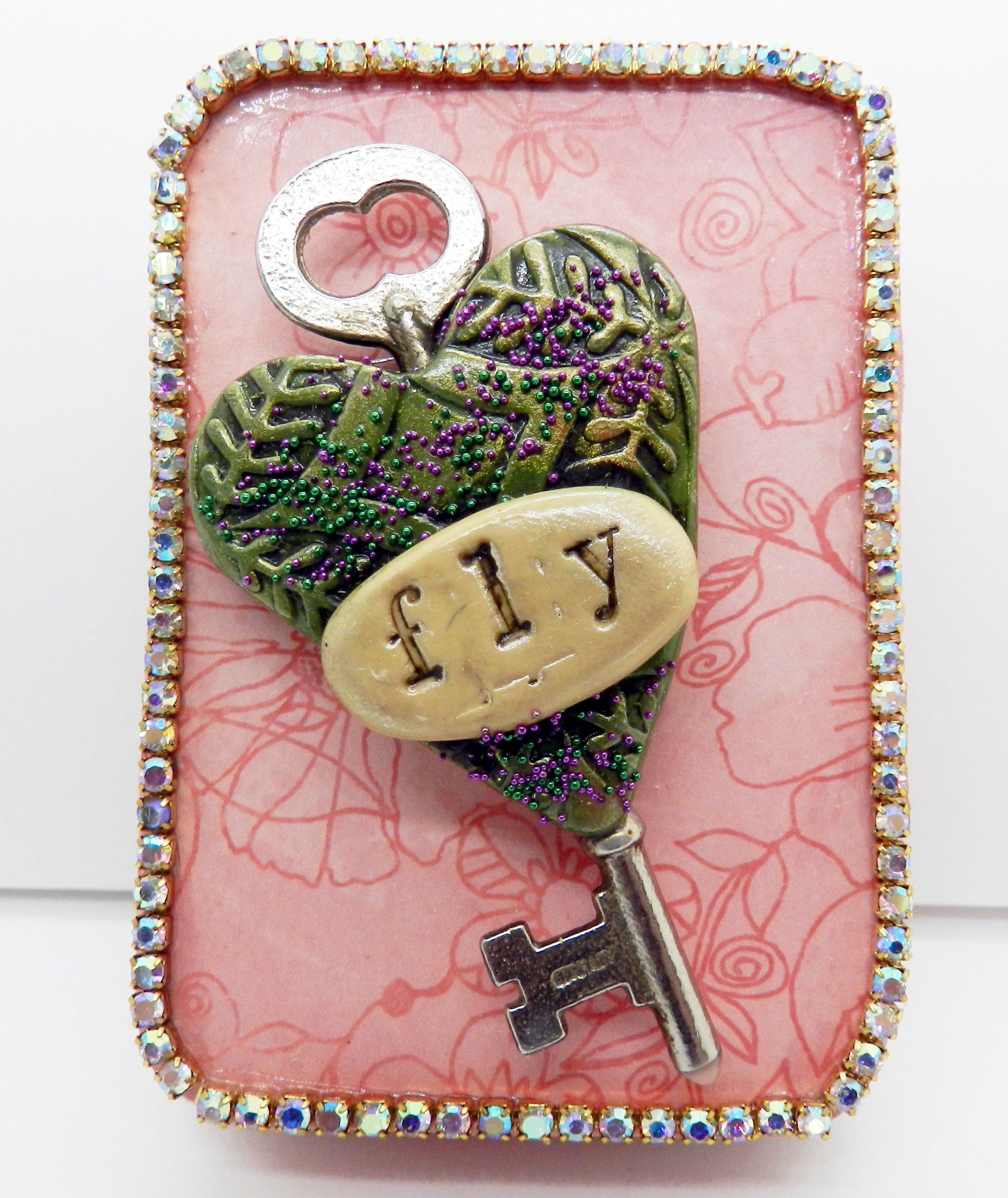Altered Tin Art Polymer Clay Heart With Key Message Fly