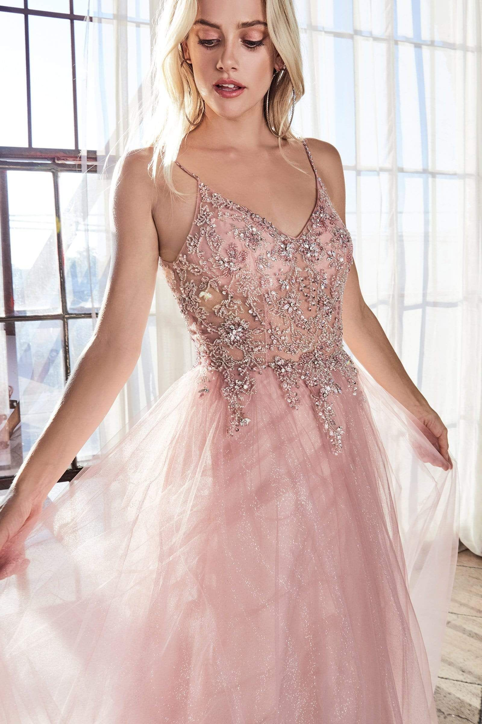Cinderella Divine Am321 Beaded V Neck A Line Evening Gown In 2021 Blush Prom Dress Sparkle Tulle Skirt Stunning Prom Dresses [ 2400 x 1600 Pixel ]