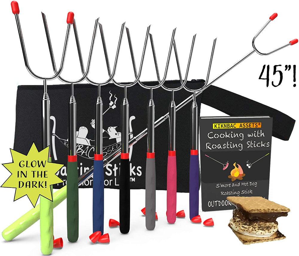 KBA Marshmallow Roasting Sticks 45 Long | Set of 8 | Telescoping Smores Sticks for Fire Pit 6 Colors and 2 Glow in The Dark, Kids Camping Accessories Kit with E-Book for Campfire Cooking Fun