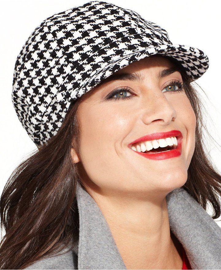Charter Club Newsboy Hat Houndstooth Black /& White One Size Macy/'s $40