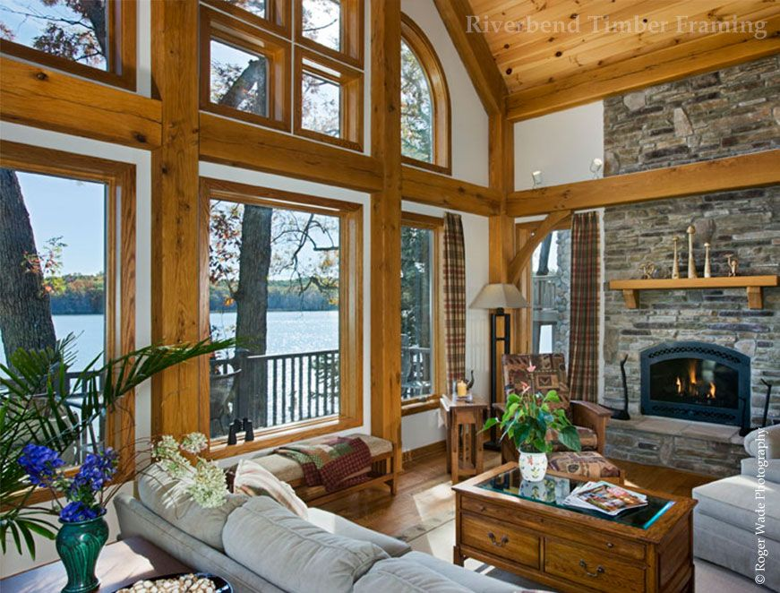 Good West Lake Timber Frame Home   Great Room Fireplace