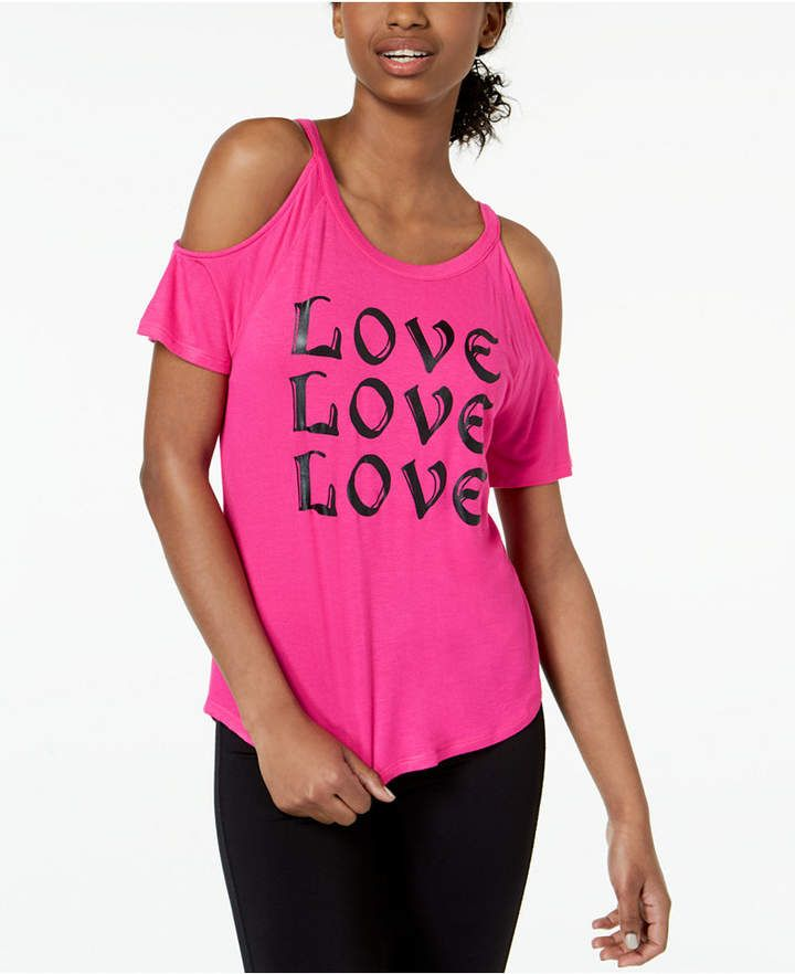 2f1760f09e5fd Material Girl Active Juniors  Love Cold-Shoulder Graphic T-Shirt ...