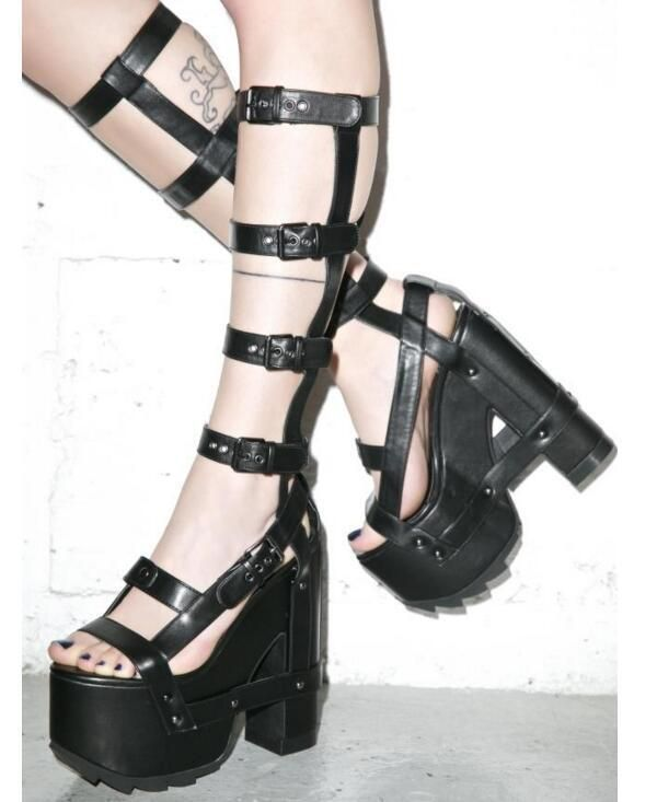 413bba2782e Gladiator Punk Women s 17Cm Buckle Straps Sandals High Heel Platform Party  Shoes