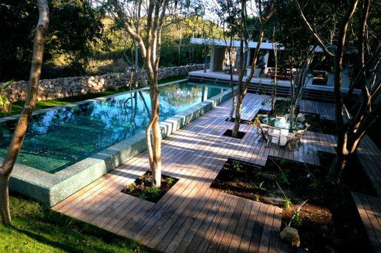 moderne gartengestaltung mit pool – greengrill, Hause und garten