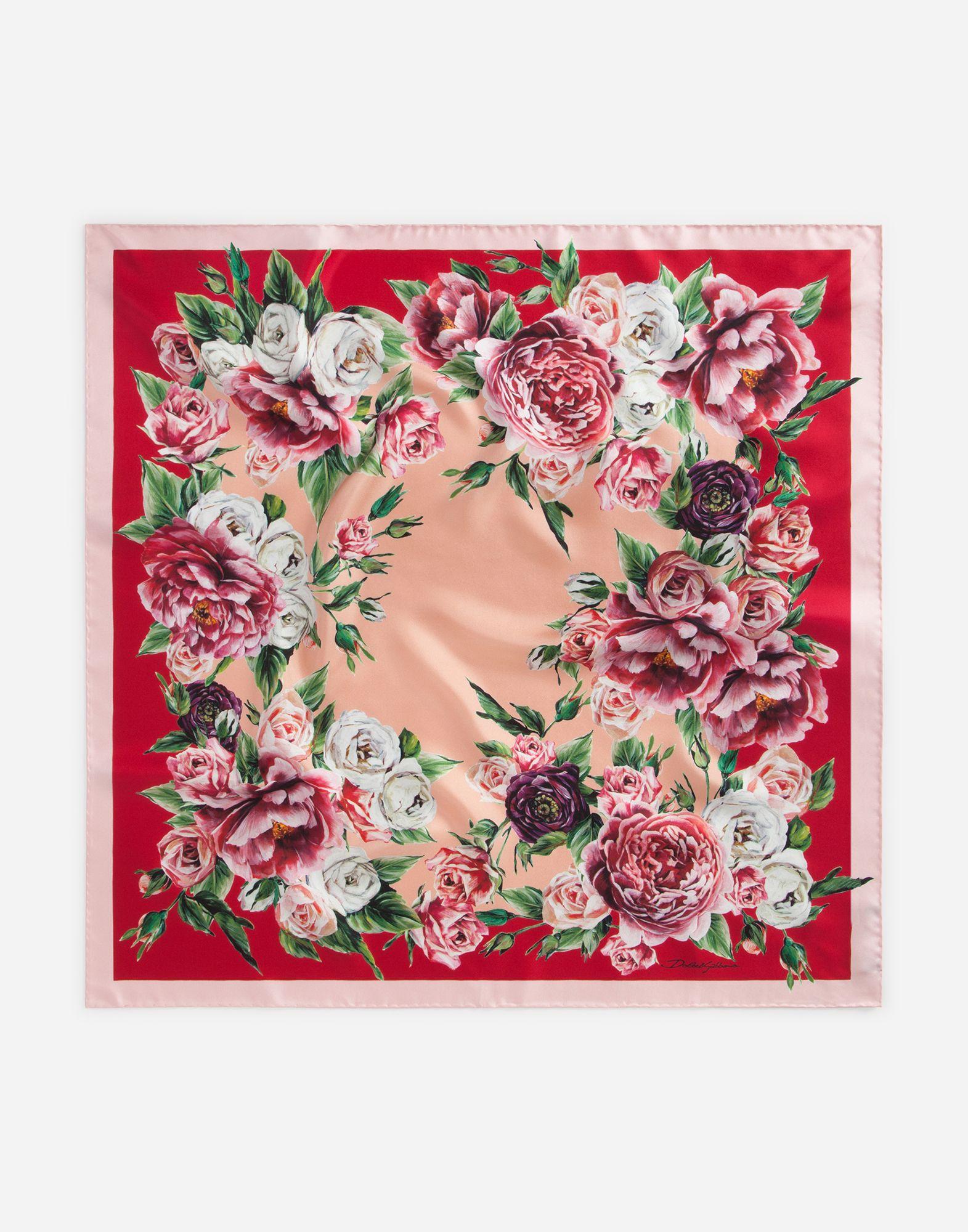 Dolce Gabbana Peony Print Silk Scarf 70x70cm 345 Floral Prints Peony Print Silk Accessories