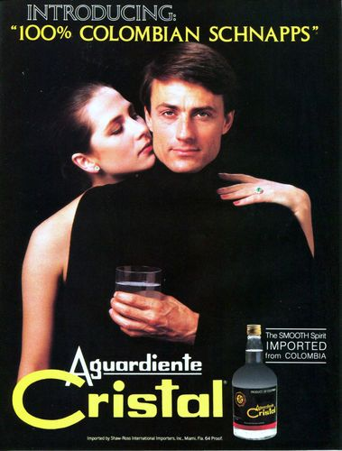 1986 AGUARDIENTE CRISTAL Colombian Schnapps Sexy Original Color Vintage Ad
