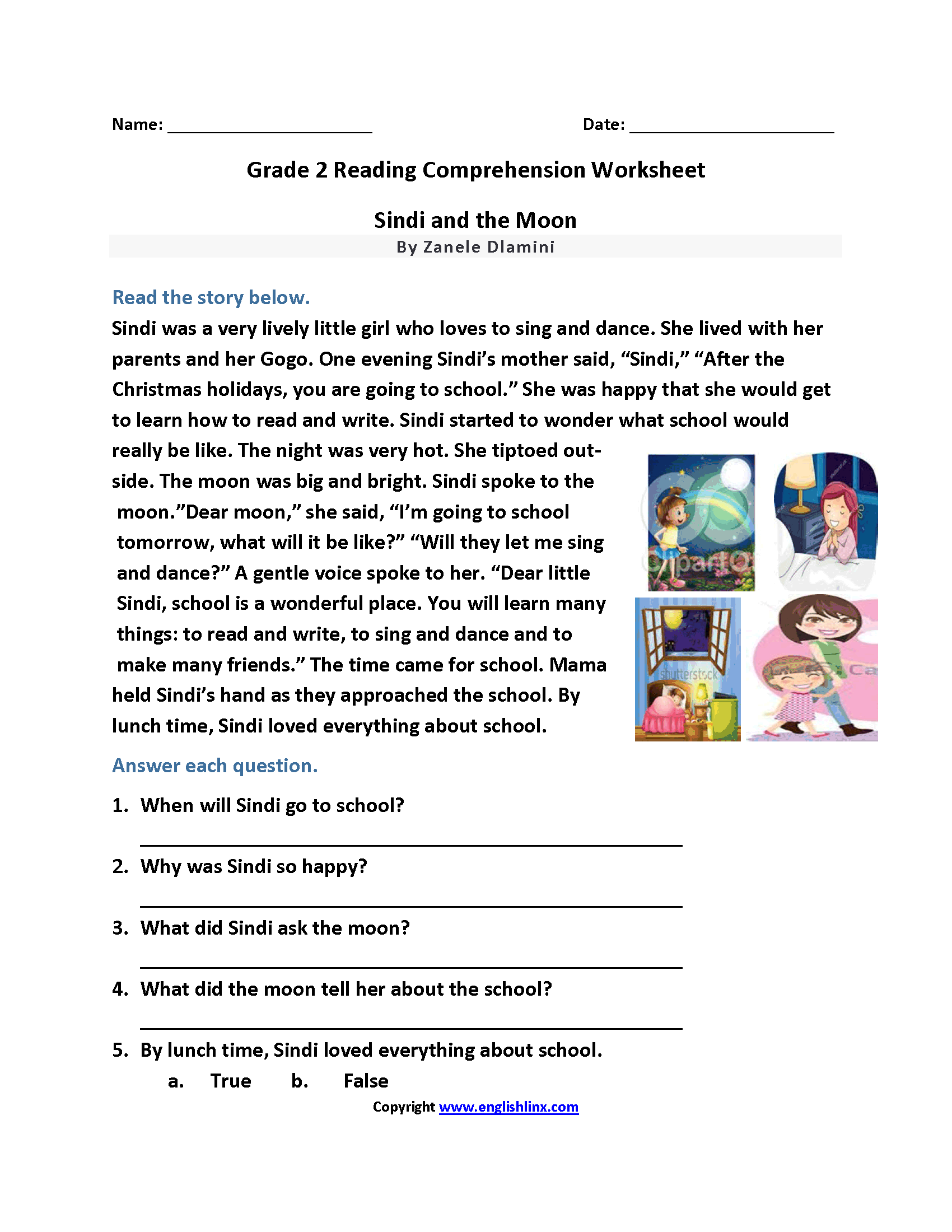 Sindi And The Moon Second Grade Reading Worksheets