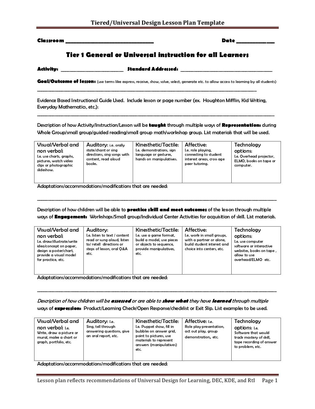 Tiered Lesson Plan Template Lesson Plan Templates Udl Lesson Plans Differentiated Instruction Lesson Plans