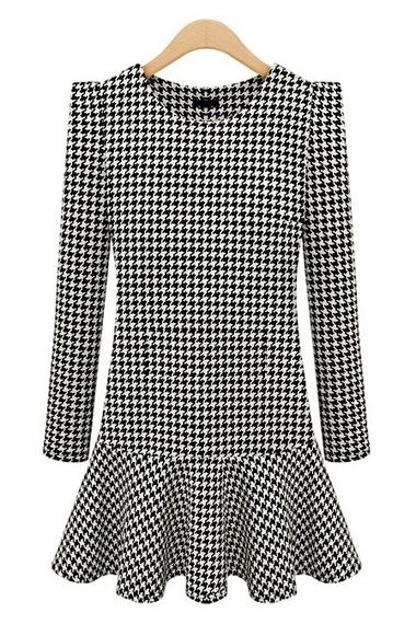 Houndstooth Long Sleeves Cotton Dress