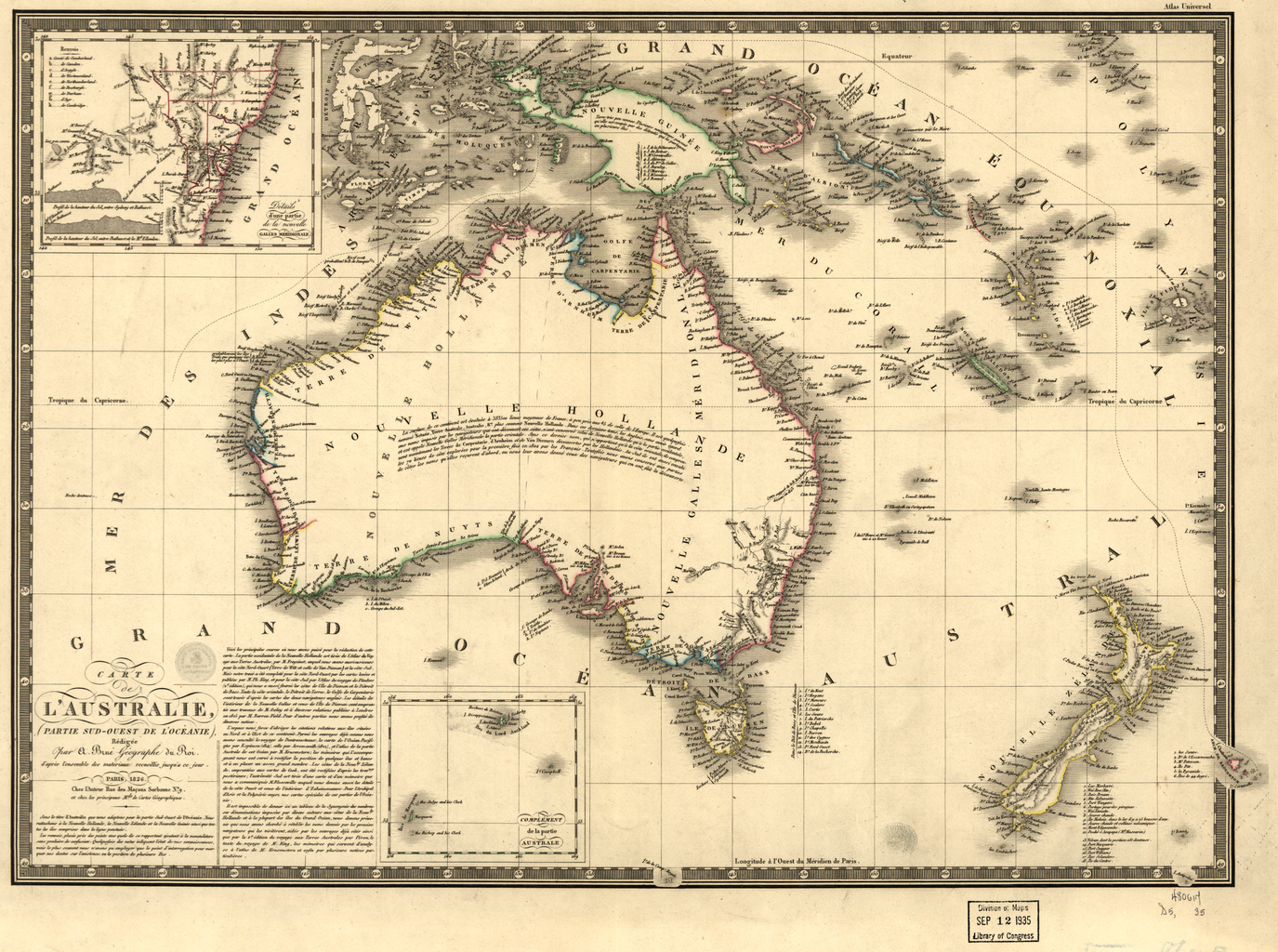 Adrien bru 1786 1832 accompanied the french explorer nicolas antique map of australia 1826 posters gumiabroncs Gallery