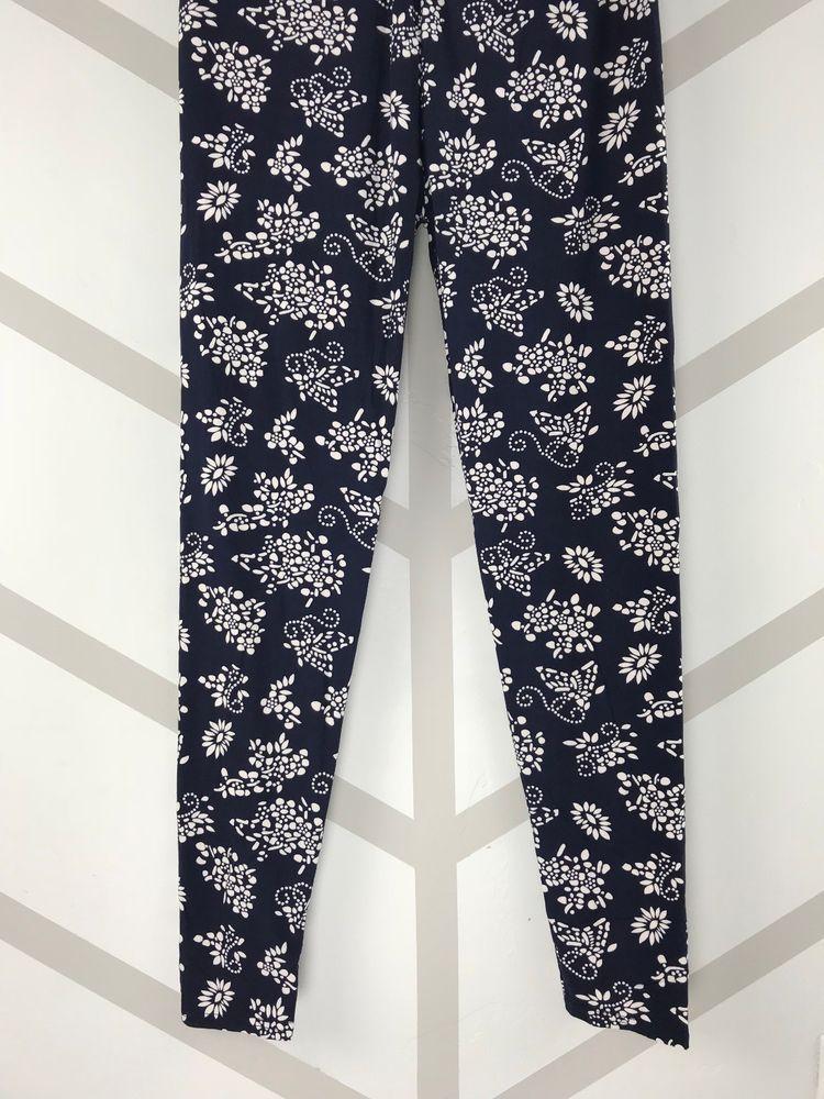 911105e9f07858 White Flowers Navy Blue Bckgrnd Tall & Curvy Leggings Pants Buttery ...