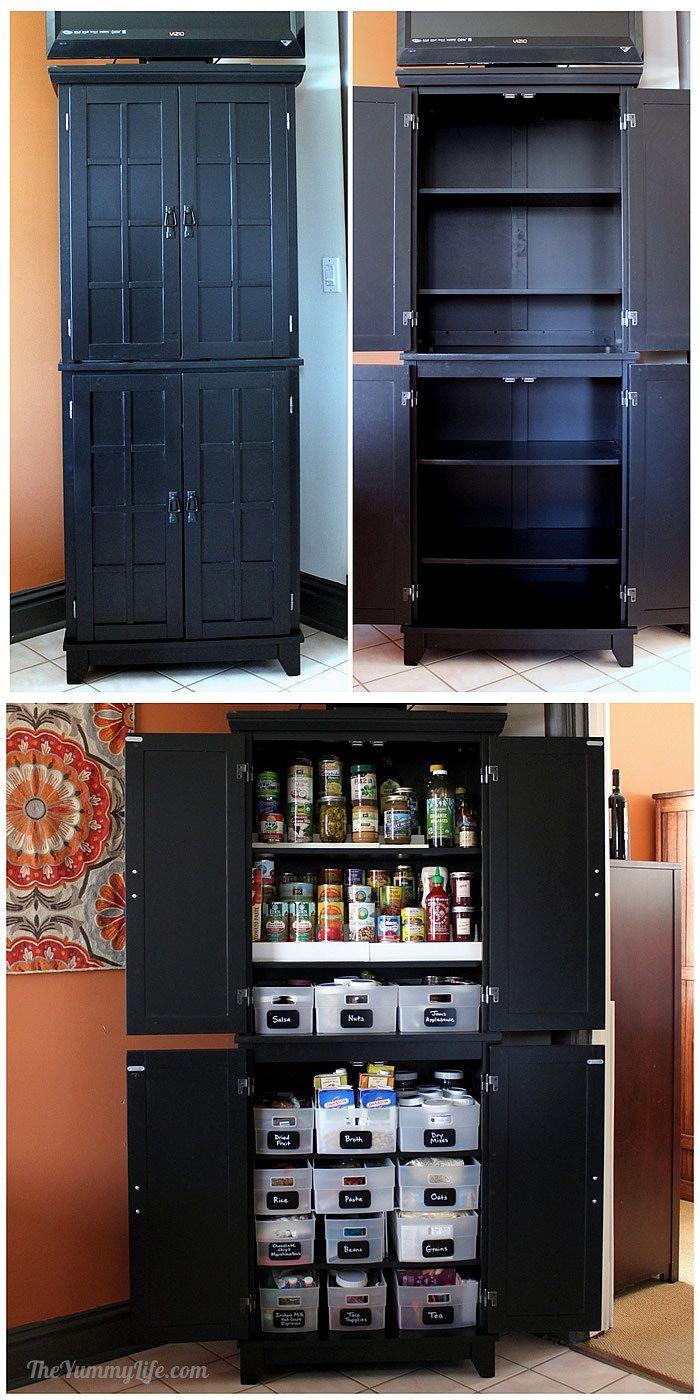 instant diy pantry cabinet an easy kitchen storage solution theyummylife com diy pantry on kitchen organization diy id=90230