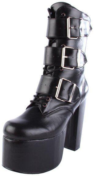 Demonia TORMENT-703 Vegan Boots Black Vegan Leather Platforms Mid Calf