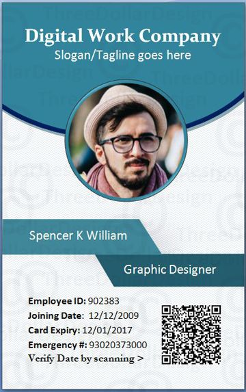 Employee Card Format In Word   Employee Card Template
