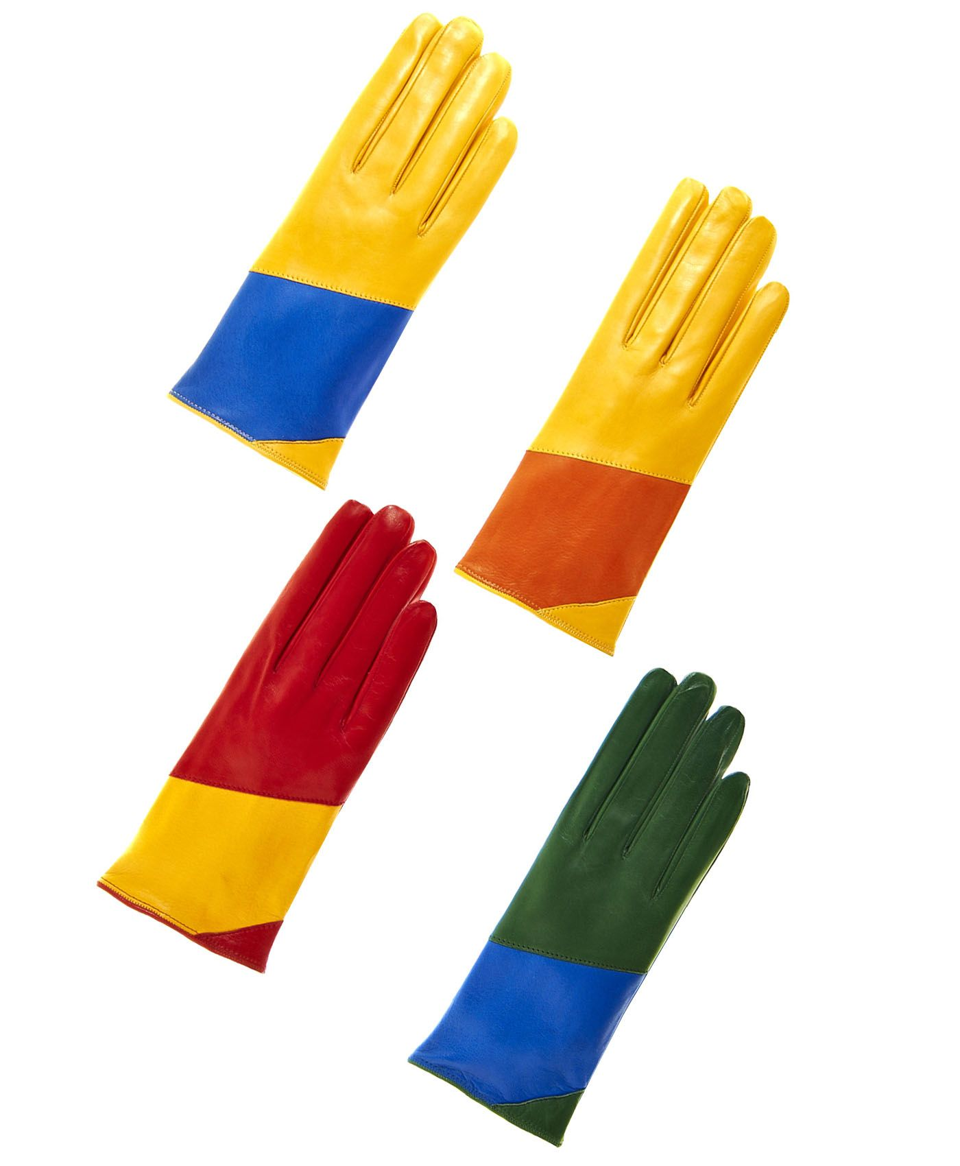 Womens lined leather gloves - Women S Italian Color Block Silk Lined Leather Gloves