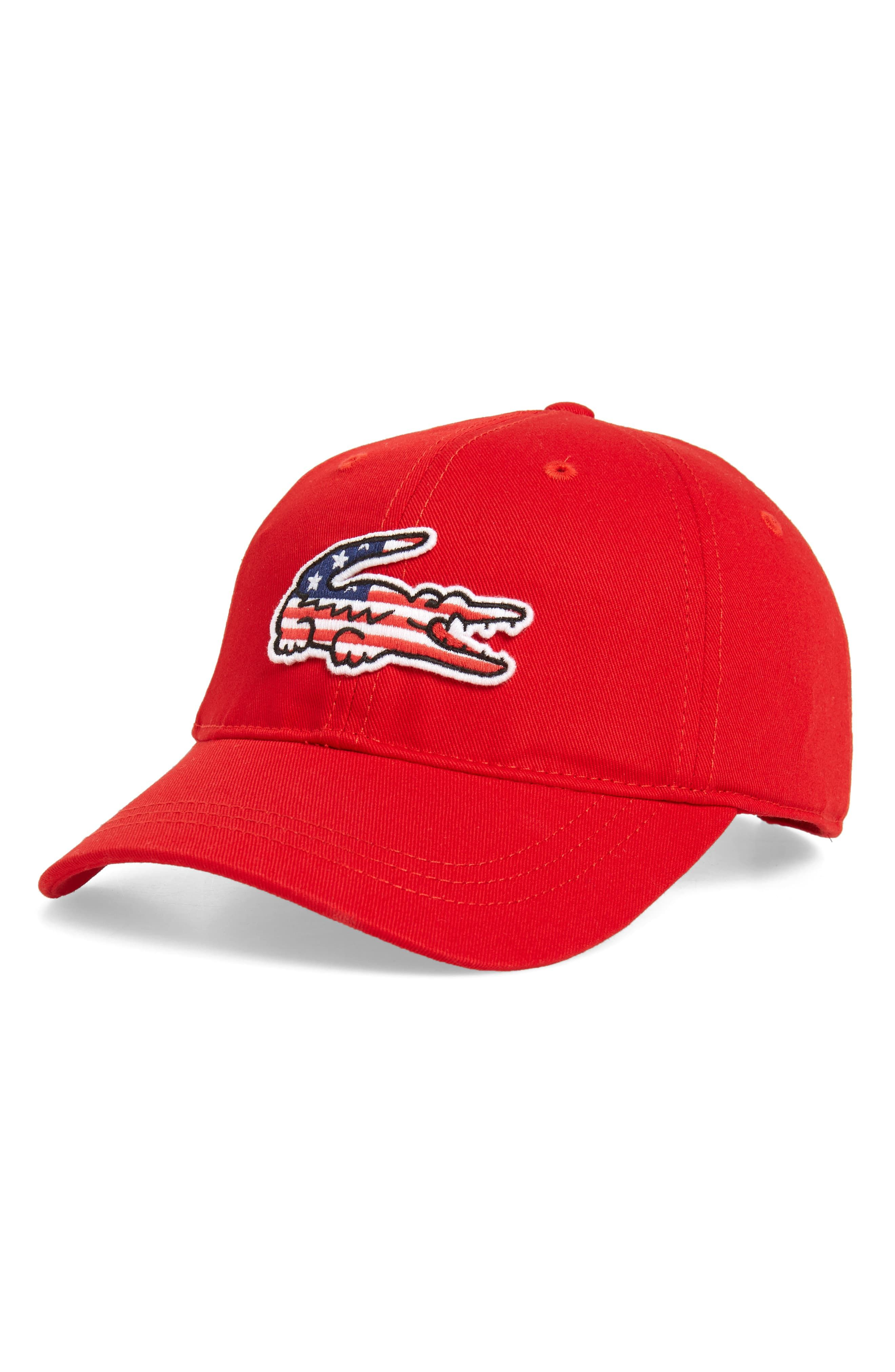 97953be5 Men's Lacoste Big Croc Usa Appliqué Baseball Cap - Red | Products in ...
