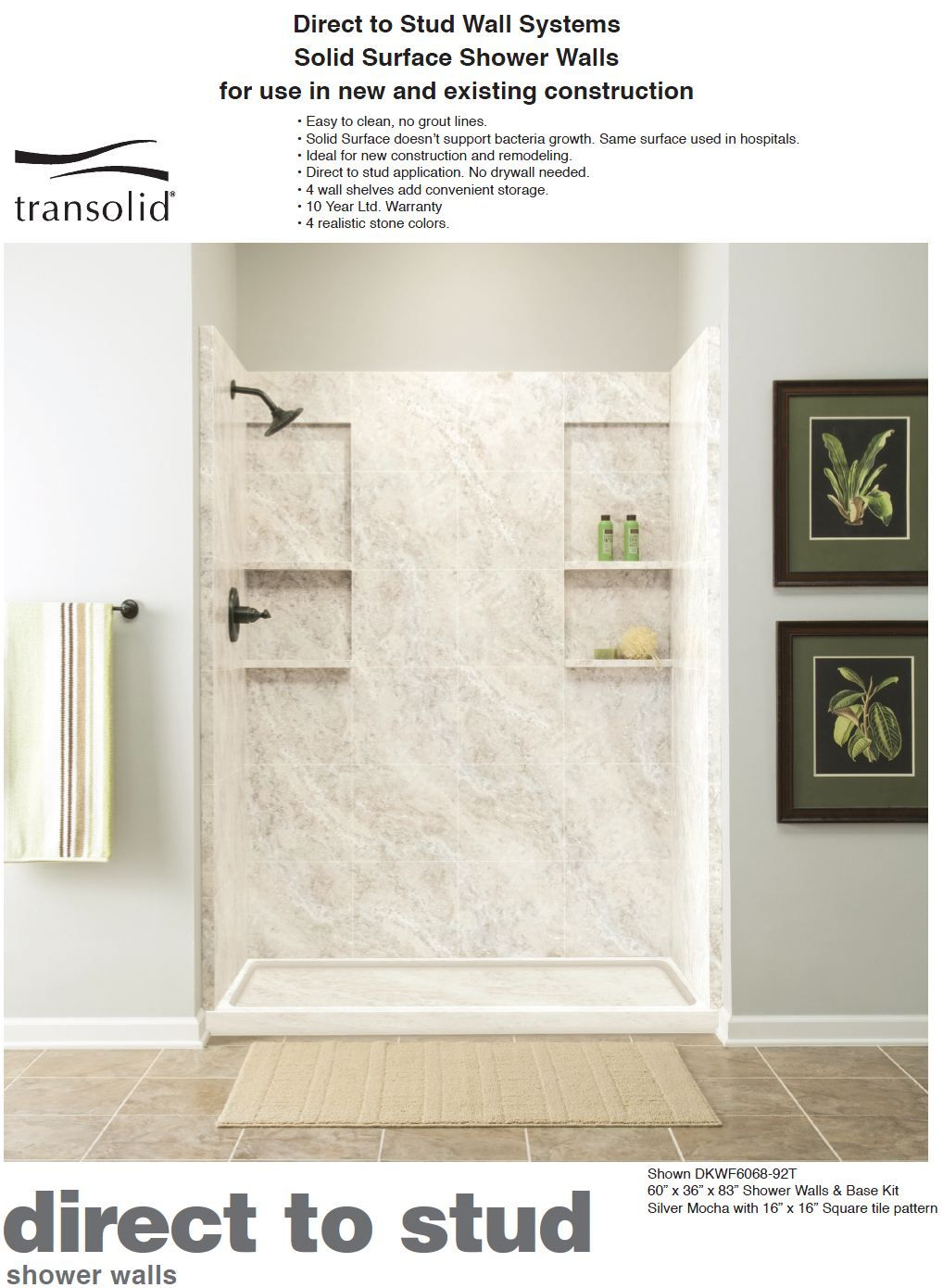 Transolid : Solid Surface Shower Walls, Shower Pans, Custom Shower ...