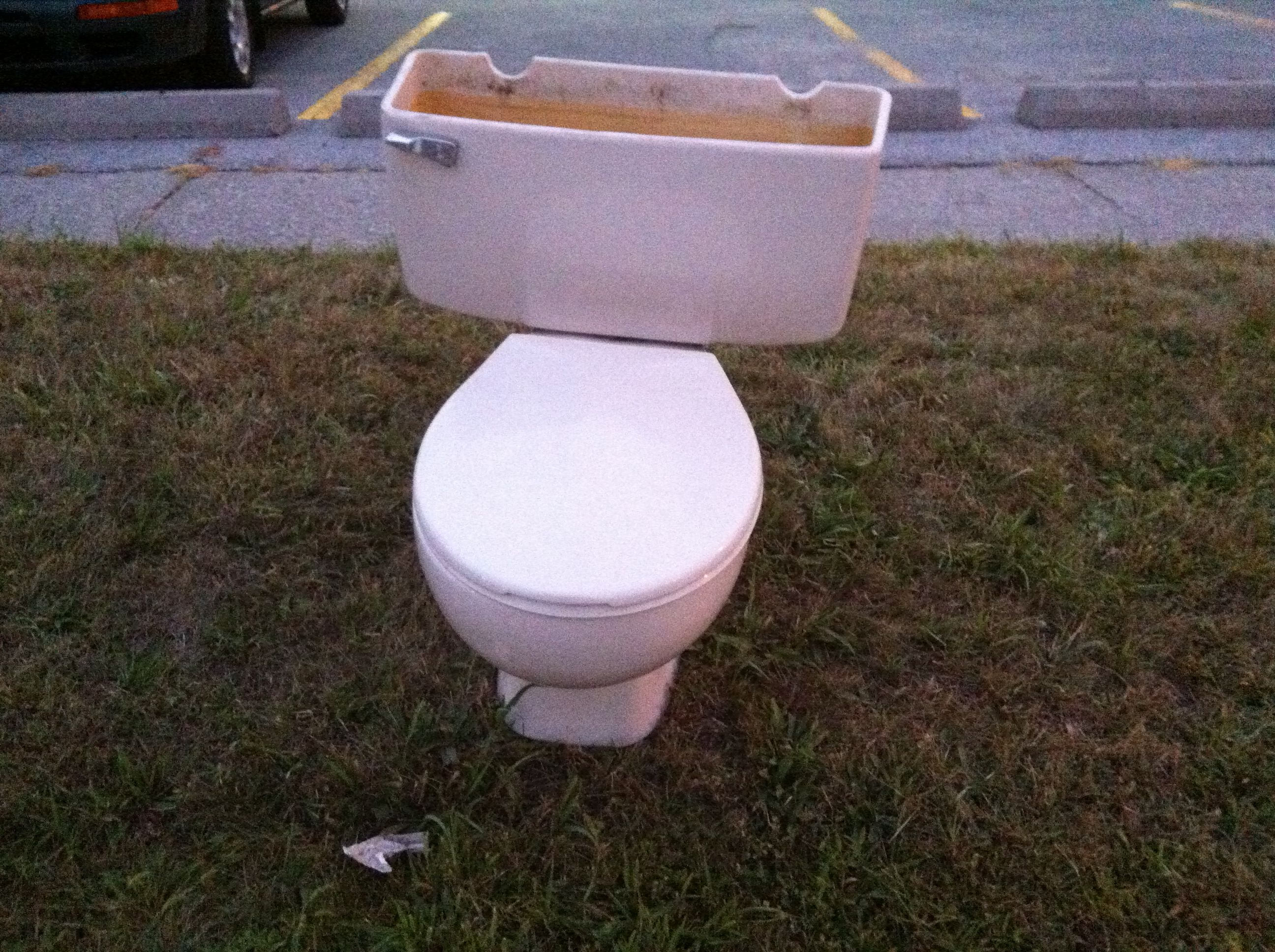 During #construction of the new #chickenOutfit #HQ, please use our temporary #washroom outside the #frontDoor.