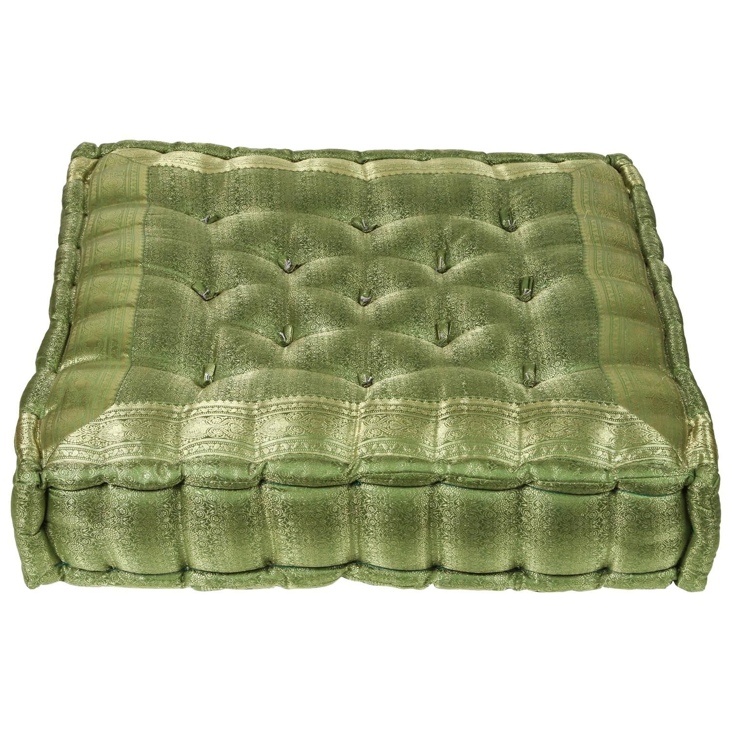 Oversized Silk Square Green Tufted Moroccan Floor Pillow Cushion Moroccan Floor Pillows Floor Pillows Pillow Cushion