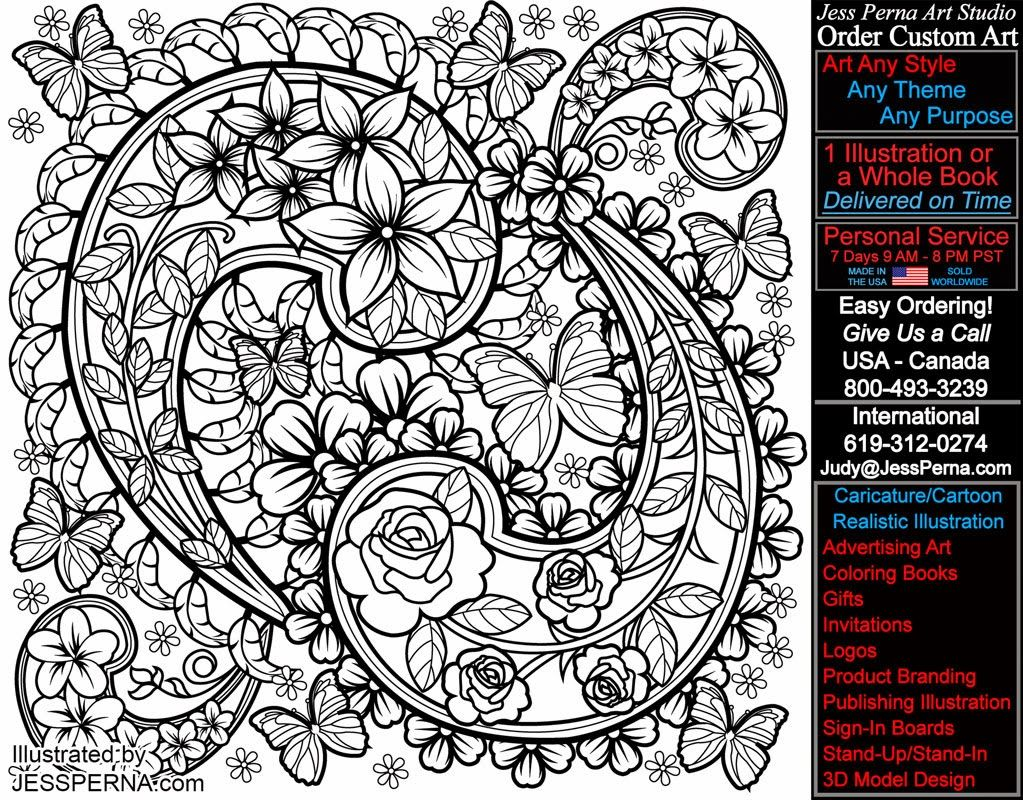 Coloring pages for adults butterflies - The Floral Butterfly Design Was Drawn Within And Outside Of Paisley Patterns For A Adult Coloring Book Illustration By Freelance American Artist J