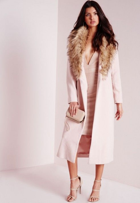 Longline Wool Coat with Faux Fur Collar Blush Pink - Coats and