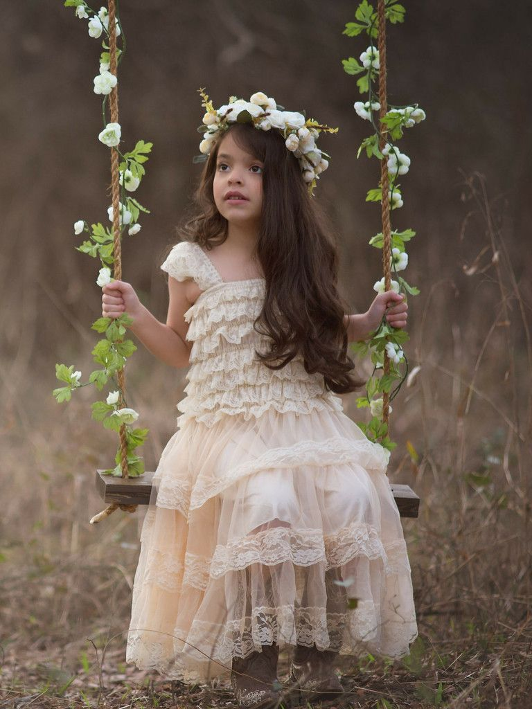 Rustic Lace Flower Dress Champagne From Country Couture Company