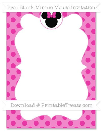 Free Hot Pink Polka Dot Blank Minnie Mouse Invitation