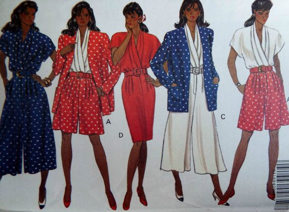 Butterick 5262 Split Skirt Dress Jacket Sewing Pattern Plus Size ...