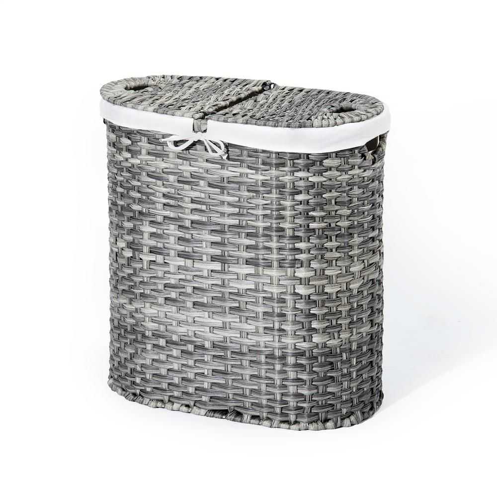 Easily sort your laundry with the Seville Classics Handwoven Oval Double Laundry Hamper. Woven from 100% synthetic polyethylene into beautiful, light gray patterned wicker. Hamper features steel wire construction for strength beneath the weave. Includes two heavy-duty canvas laundry bags in natural white. Each bag has dual, built-in, handles with hook and loop fabric fasteners to secure them to the bag and each other. Each canvas bag is removable and machine-washable for your convenience and mak