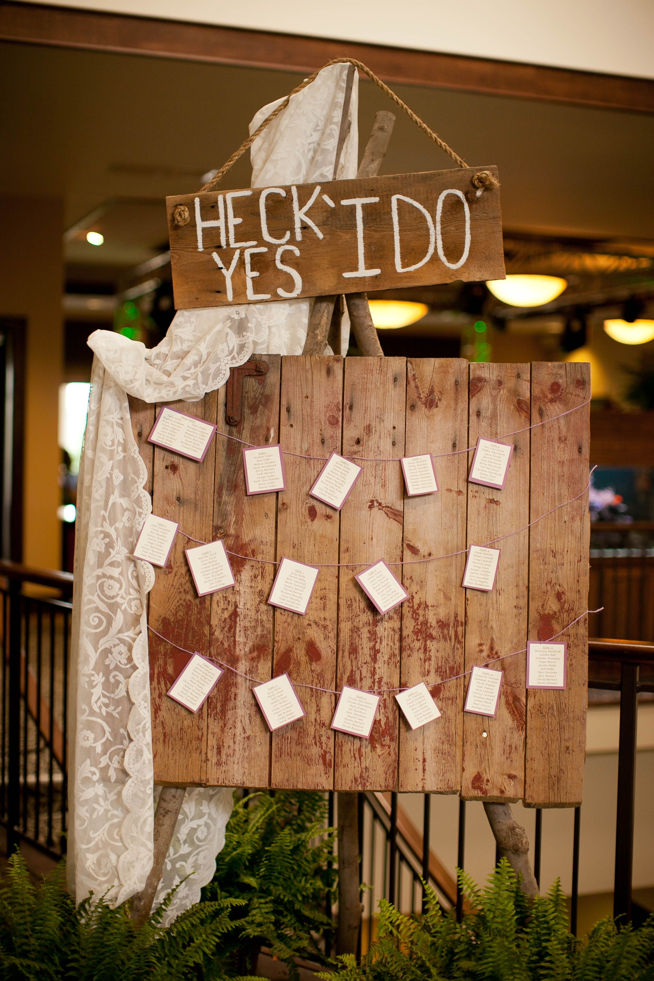 Rustic Seating Chart Escort cards & seating chart ideas