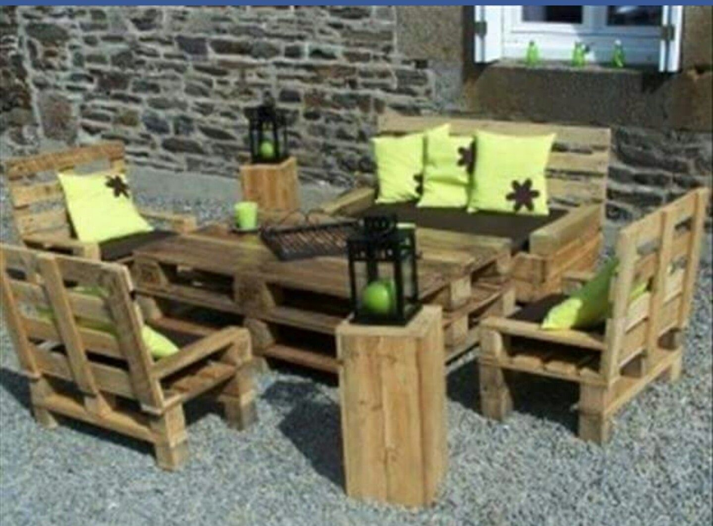 Outdoor seating with chairs. Pallets