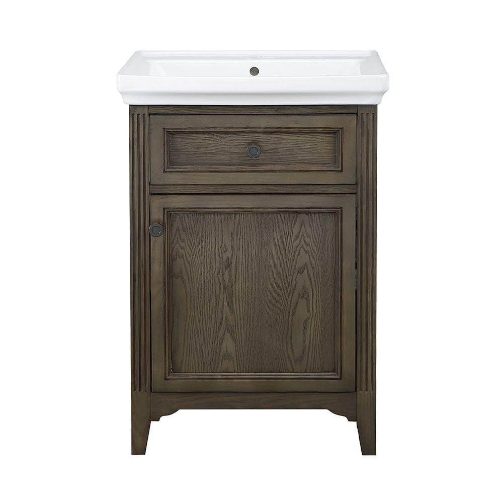 Chariot 24 in. Vanity in Driftwood with Vitreous China Vanity Top and Basin in White-CHDVT2418 - The Home Depot