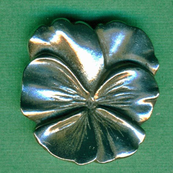 Exceptional 4 Silver Pansies Vintage Danforth Pewter Buttons