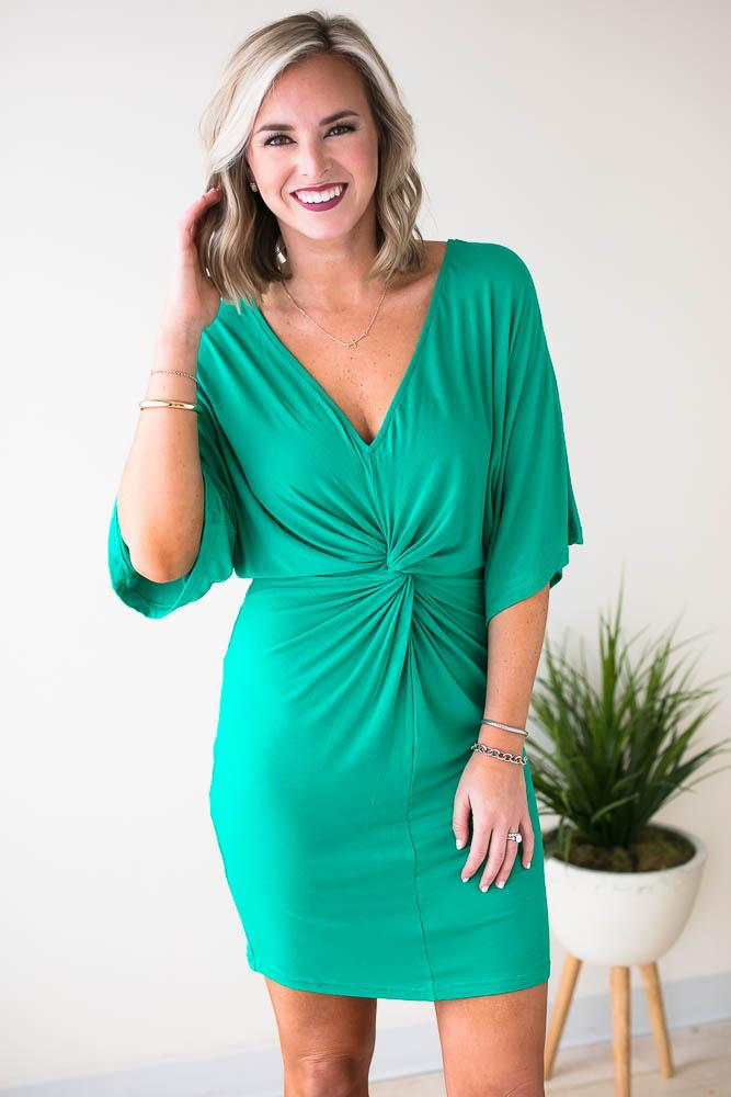 4d855bb7c751 Magic Twist Front Emerald Knit Dress | Emeralds and Products