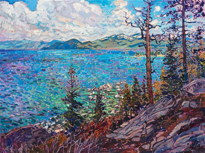 Lake Tahoe Landscape Oil Painting In Bright Colors And Thick Impasto Texture By Modern Im Contemporary Impressionism Oil Painting Landscape Abstract Landscape